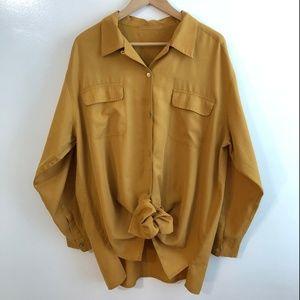 Vintage Dolman Pocket Button Up Blouse Tunic